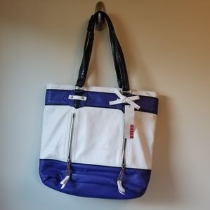 Blue and White Elle Tote Bag